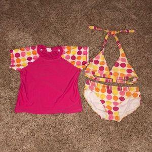 Girls swimsuit with sun shirt